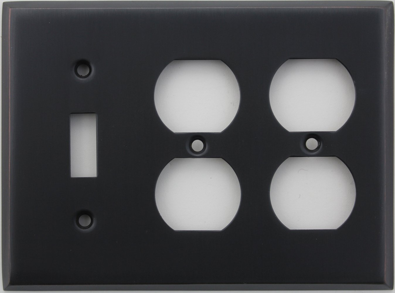 Classic Accents Stamped Steel Oil Rubbed Bronze Three Gang Wall Plate - One Toggle Light Switch Opening Two Duplex Outlet Openings