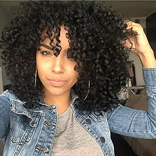 Curly Hair Wigs For Black Women,Natural Hair Wigs For Black Women,Curly Wig, Kinkys Curly Afro Wigs Human Hair Lace Front Short Fluffy Wavy Full Synthetic Wigs With Bangs 14 310g