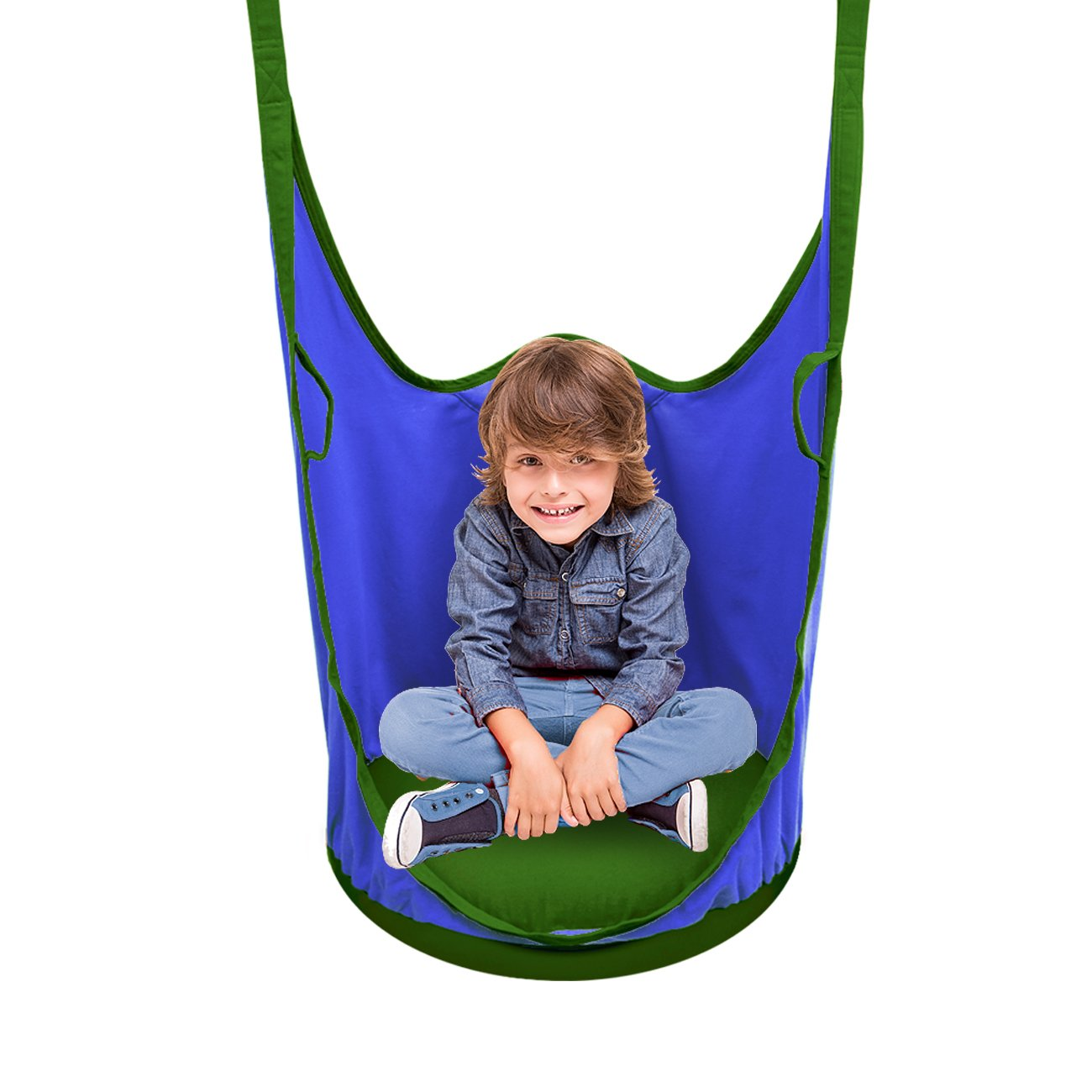 Sorbus Kids Pod Swing Chair Nook - Hanging Seat Hammock Nest for Indoor and Outdoor Use – Great for Children, All Accessories Included (Pod Blue)