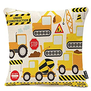 oFloral Throw Pillow Cover Cartoon Construction Crew Vehicles Truck Chevron Sign Equipment Decorative Pillow Case Home Decor Square 18x18 Inches Pillowcase