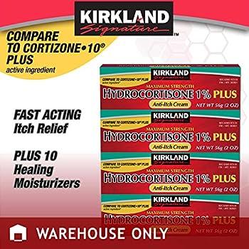 Kirkland Signature Maximum Strength Hydrocortisone Cream 1% with Aloe, 2-ounce (pack of 4)