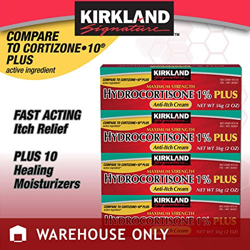 Cortaid 1% Cream (Kirkland Signature Maximum Strength Hydrocortisone Cream 1% with Aloe, 2-ounce (pack of 4))