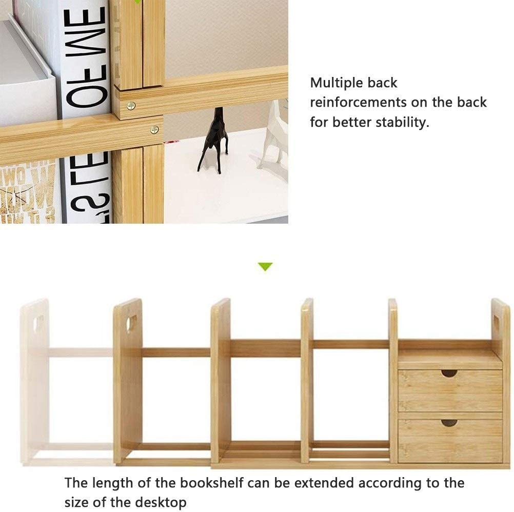 Color : Wood Color, Size : 621923cm Anju100 Desktop Shelf Desk Storage Organisers Bamboo Student Desk Book Organizer Study Creative Storage Shelf Bookcase Desk Rack