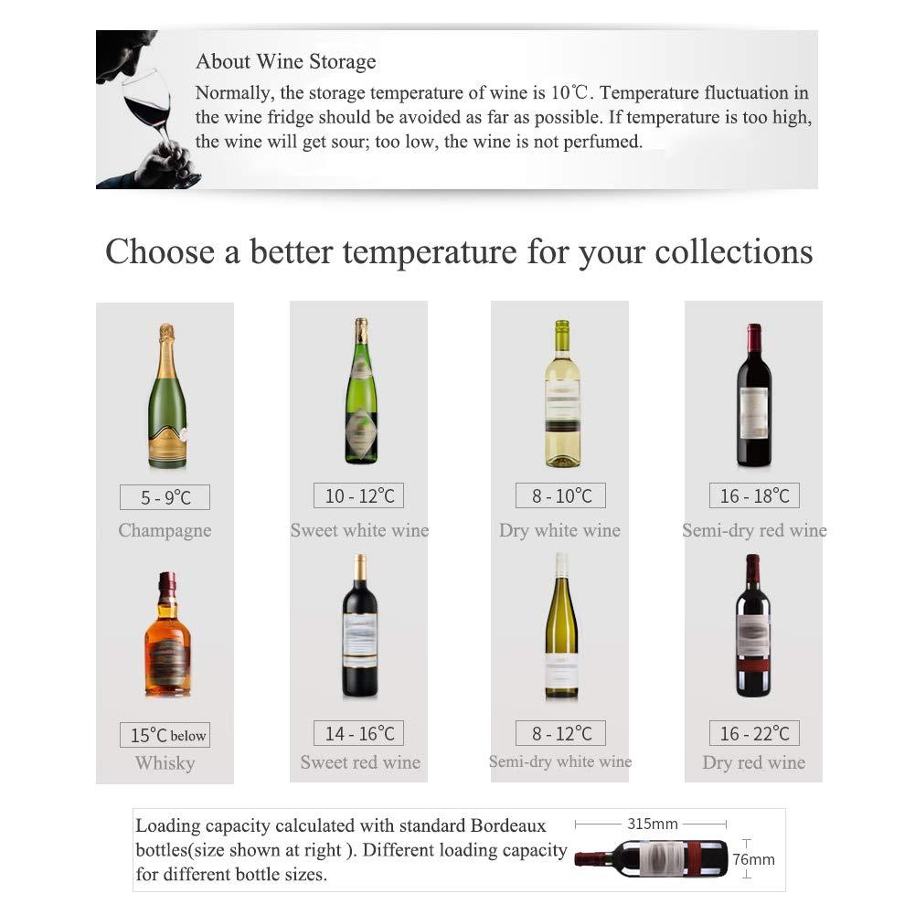 Smad 35 Bottle Wine Fridge Freestanding Compressor Wine Cooler,Stainless Steel Frame