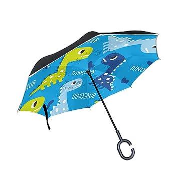 MAILIM Paraguas invertido de Dinosaurios Azul con Doble Capa Resistente al Viento, Mango C,