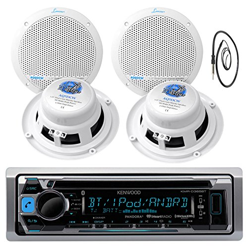 "Kenwood Marine Yacht Bluetooth CD MP3 USB AUX iPod iPhone AM/FM Radio Player 4 X Lanzar 300 Watts 5.25-Inch White Marine Speakers And Enrock Marine 45"" Antenna"
