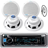 New Kenwood Marine Boat ATV Car In Dash Bluetooth CD MP3 USB AUX iPod iPhone AM/FM Radio Stereo Player With 4 X Lanzar AQ5DCS 300 Watts 5.25-Inch Dual Cone Marine Speakers And Enrock Marine 45 Antenna - Complete Marine Audio Package