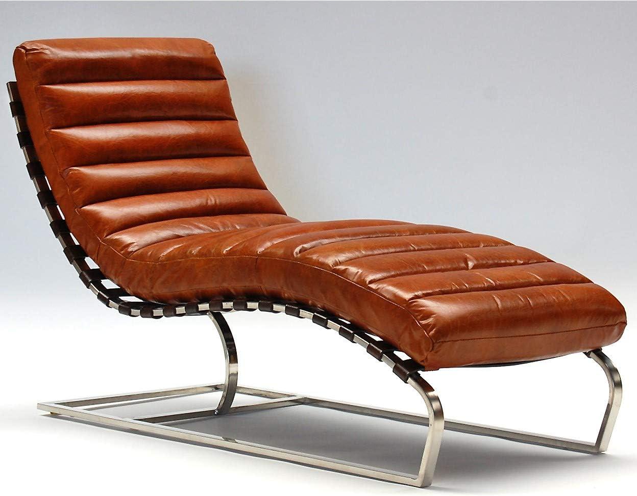 Phoenixarts Real Leather Vintage Chaise Longue, Recamiere Design 7