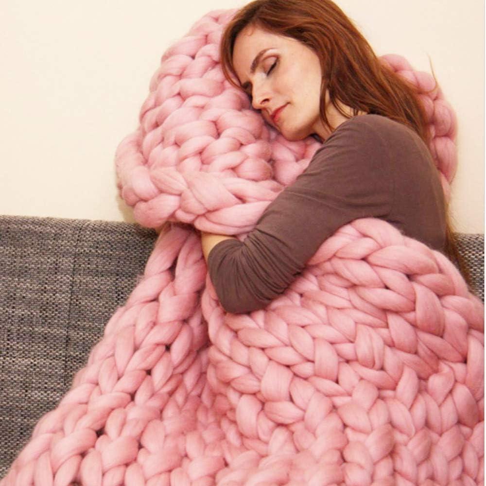 wdede Chunky Knitted Blanket Merino Wool Blend Arm Knit Throw Super Large Hand Knitting Yarn Pet Bed Chair Sofa Yoga Mat Rug Beige 100CM*150CM