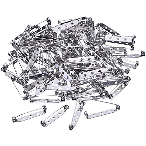 Badges Craft (Mudder 100 Pieces Silver Tone Pin Back Clasp Brooch Name Badge Craft (1.26 Inch))