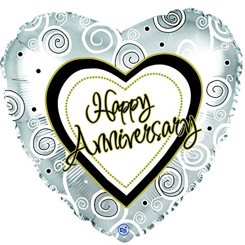 Happy Anniversary Swirls 18 Inch Mylar Balloon (5 Pack)