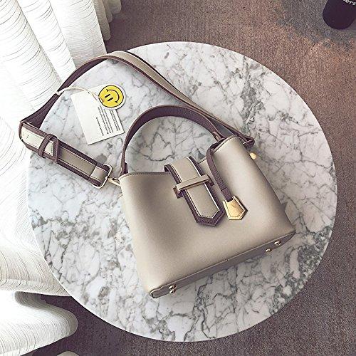 LiZhen Paket weiblichen neue Flut von Hand den Wassereimer und kleine Pakete Paket Damen Taschen und trendigen single Umhängetaschen Messenger Bag, Grau Grau