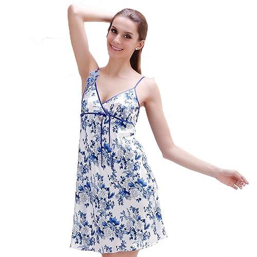 Modelo azul y blanco de porcelana Sra primavera y el verano de seda camisón de la honda estilo chino