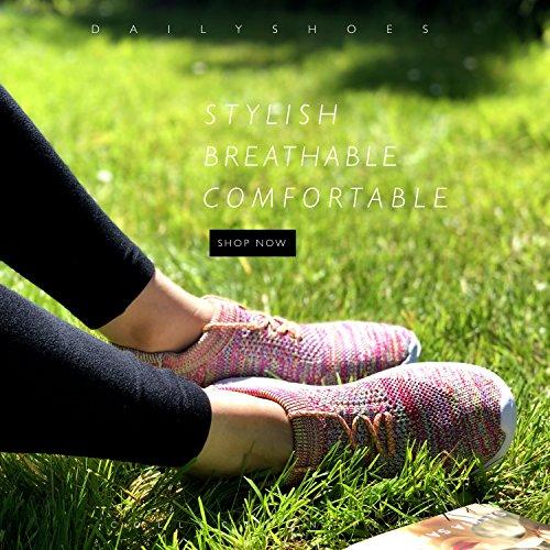 DailyShoes Walking Women's Sneakers Memory Foam Mesh Rainbow on 6207l Slip Shoes rqr1AI