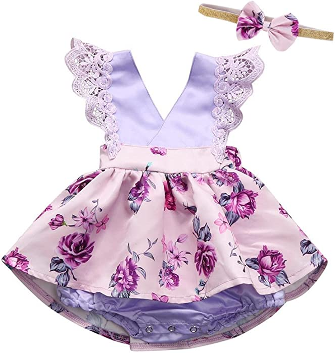 cb09d15c78b9 Amazon.com  KONFA Toddler Infant Baby Girls Floral Lace Dress Romper ...