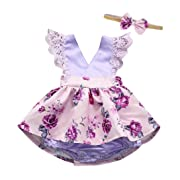 LILICAT Baby Baby JumpsuitInfant Kids Baby Girls Cute Sleeveless Feather Romper Jumpsuit+Bow-Knot Headband 2PCS Set