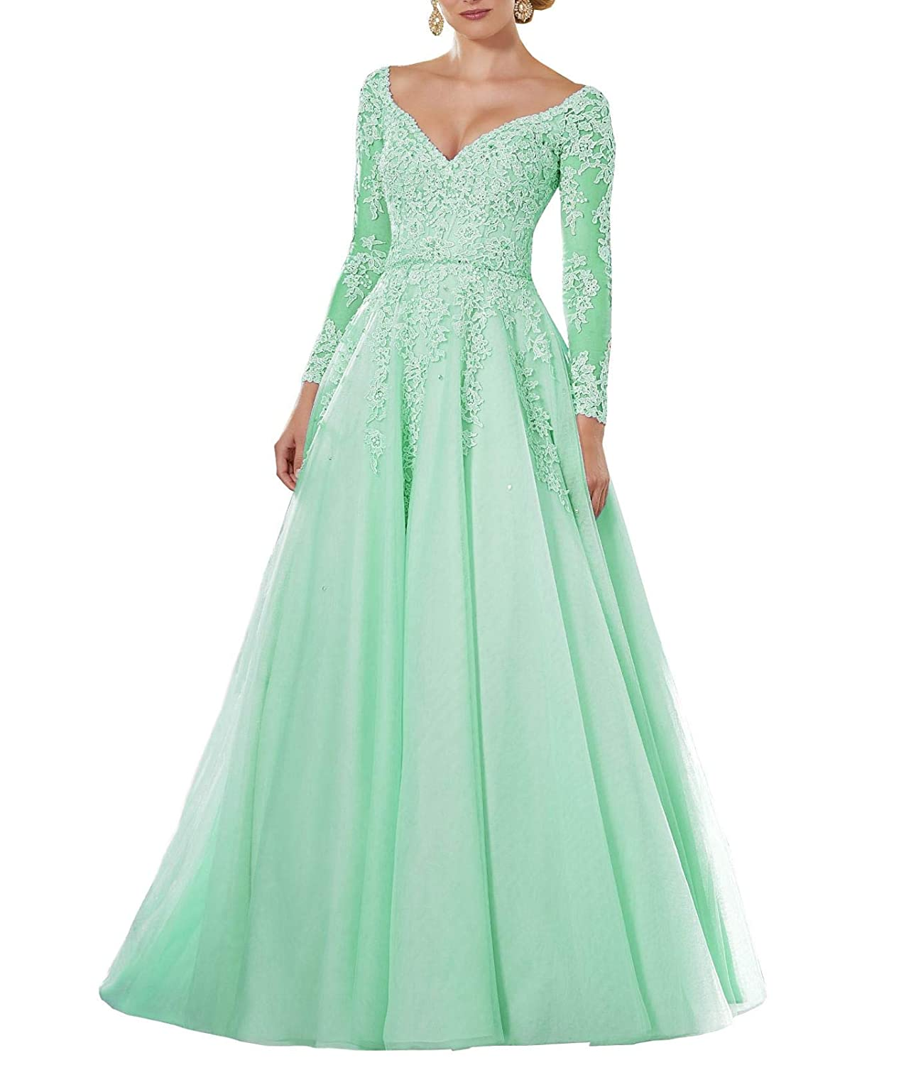 Green Wanshaqin Women's Lace Appliqued VNeck Formal Evening Gown Sleeves Tulle Party Dress with Empire Jewelled Waist