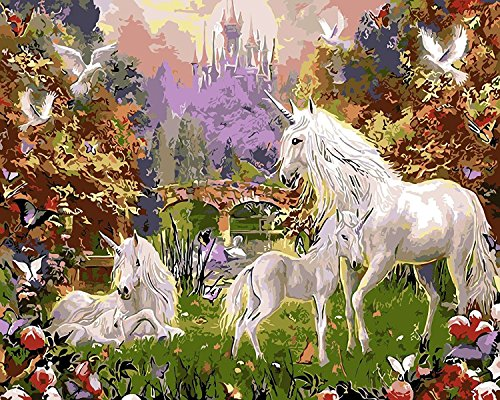 LB DIY Oil Painting for Adults Kids Paint By Number Kit Digital Oil Painting Unicorn 16X20 Inches