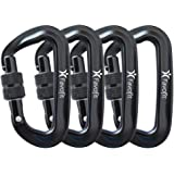 Favofit 12KN/25KN Heavy Duty Aluminium Carabiners (Weight Limit at 2697lbs/5620lbs Each), Super Durable Screwgate Locking Carabiner Clips for Hammock, Camping, Hiking, Outdoor, Keychain etc