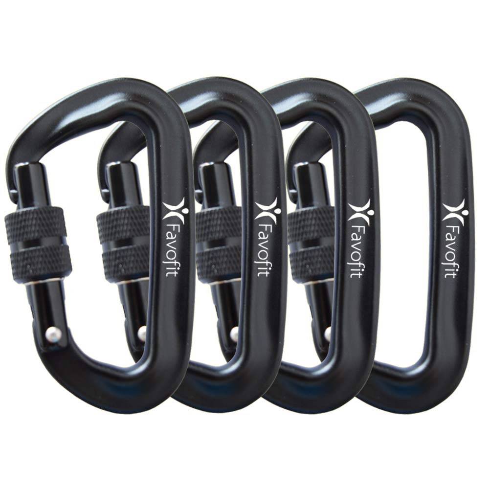 Favofit 12KN 25KN Heavy Duty Aluminium Carabiners Weight Limit at 2697lbs 5620lbs Each Super Durable Screwgate Locking Carabiner Clips for Hammock Camping Hiking Outdoor Keychain etc