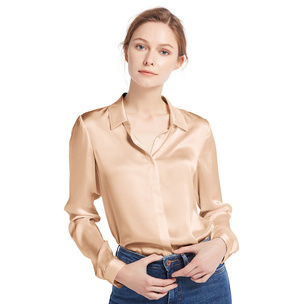 Light Camel LilySilk Women's Silk Shirt 22 Momme 100% Pure Silk Button Down Tops Long Sleeves