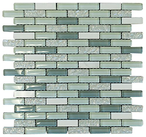 Aqua Green and White Crystal Glass Mosaic Tile Brick Pattern (Glossy&Matte) for Bathroom and Kitchen Walls Kitchen Backsplashes By Vogue ()