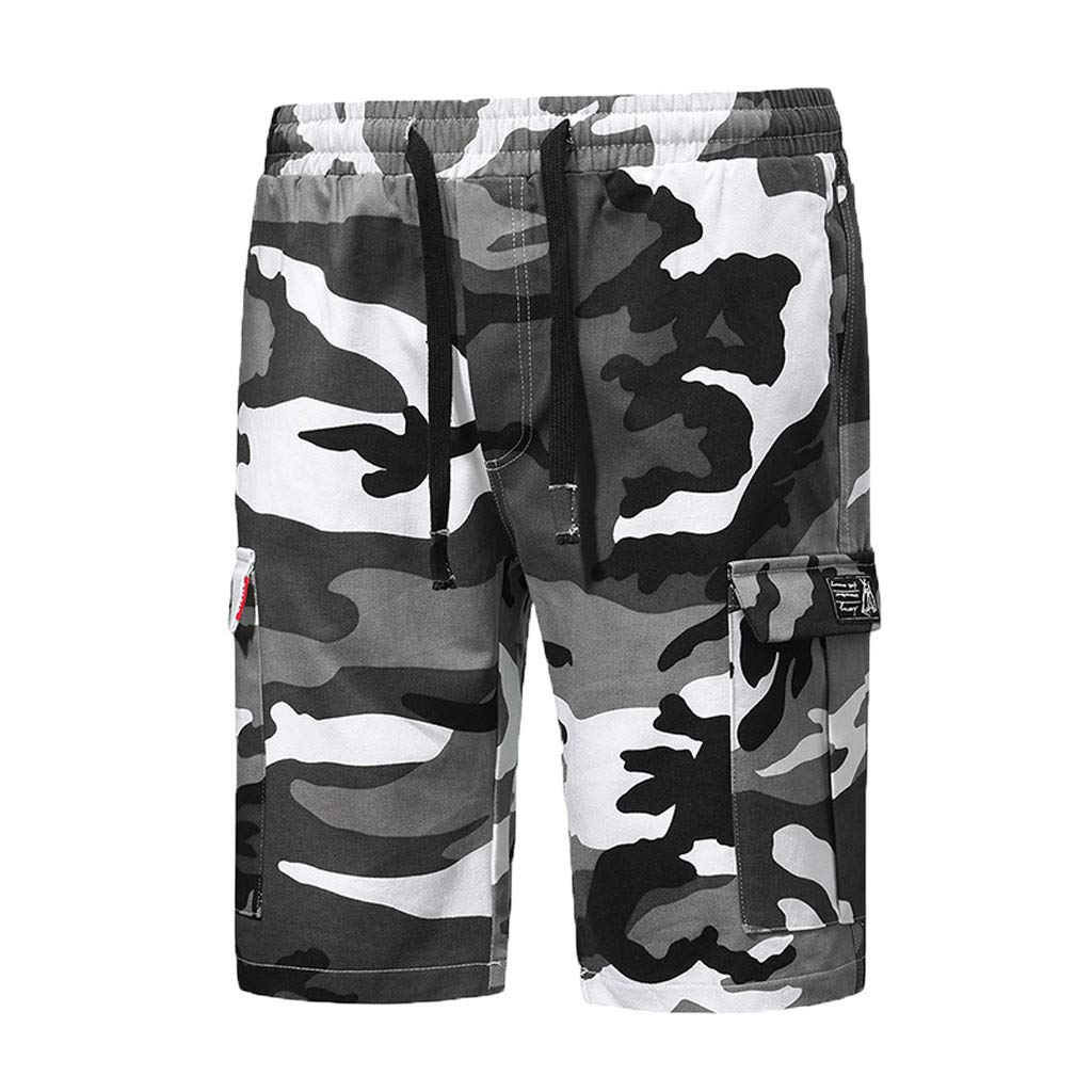 Ninasill Hot!Men's Camouflage Print Tooling Shorts Multi-Pocket Tethered Sports Shorts Large Size Casual Fashion Pants