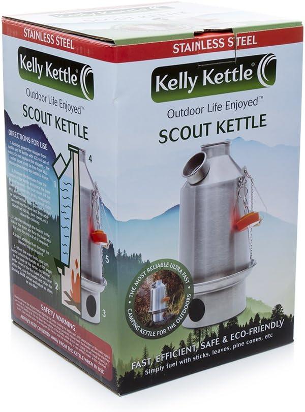 Kelly Kettle® Scout - Kit básico de acero inoxidable (1,2 l, juego de cocina de acero + soporte de olla de acero + silbato verde que sustituye al ...