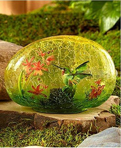 The Lakeside Collection Solar Glass Garden Stone Hummingbird