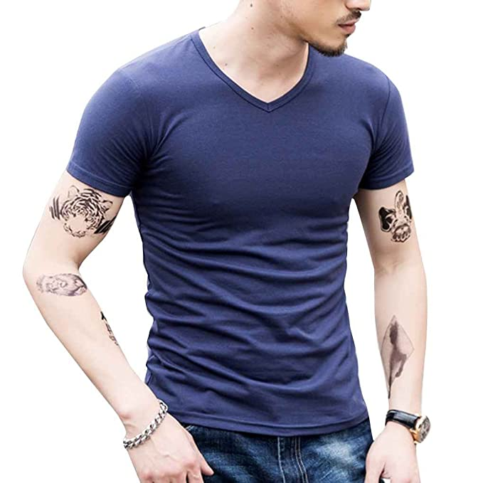 b7d33b3ef87f irene Men Summer V Round Collar Pure Color Short Sleeve T-shirts ...