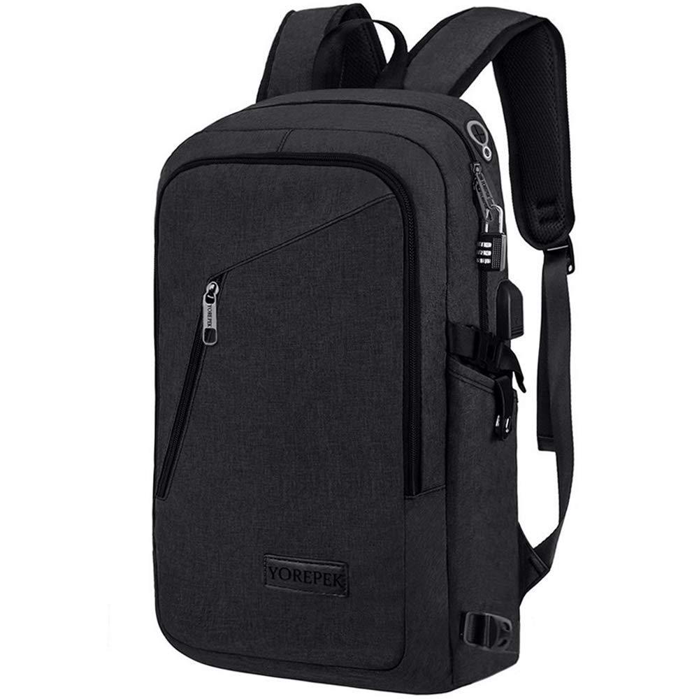 Yorepek Slim Laptop Backpack, Business Computer Backpack w/USB Charging Port for Men Women,Anti Theft Travel daypack College Student Backpack,Water Resistant School Bookbag Fit 15.6 inch Laptop-Black