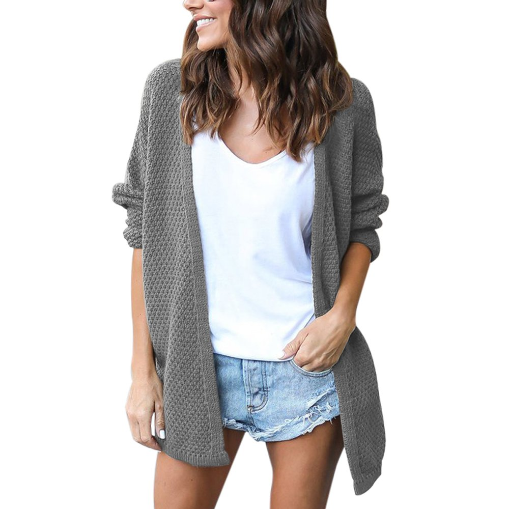 Lrud Women's Loose Knited With Sleeve Cardigans Chunky Open Front Sweater Casual Coat Gray-M