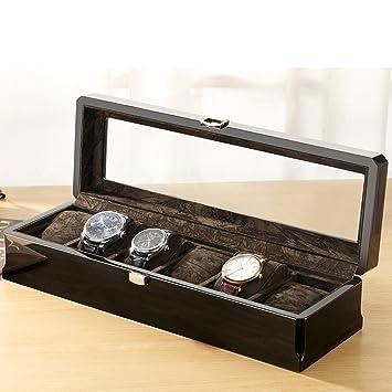 LE Caja de regalo de madera Joyero 6 Ranuras Caja de reloj de madera Caja de ...