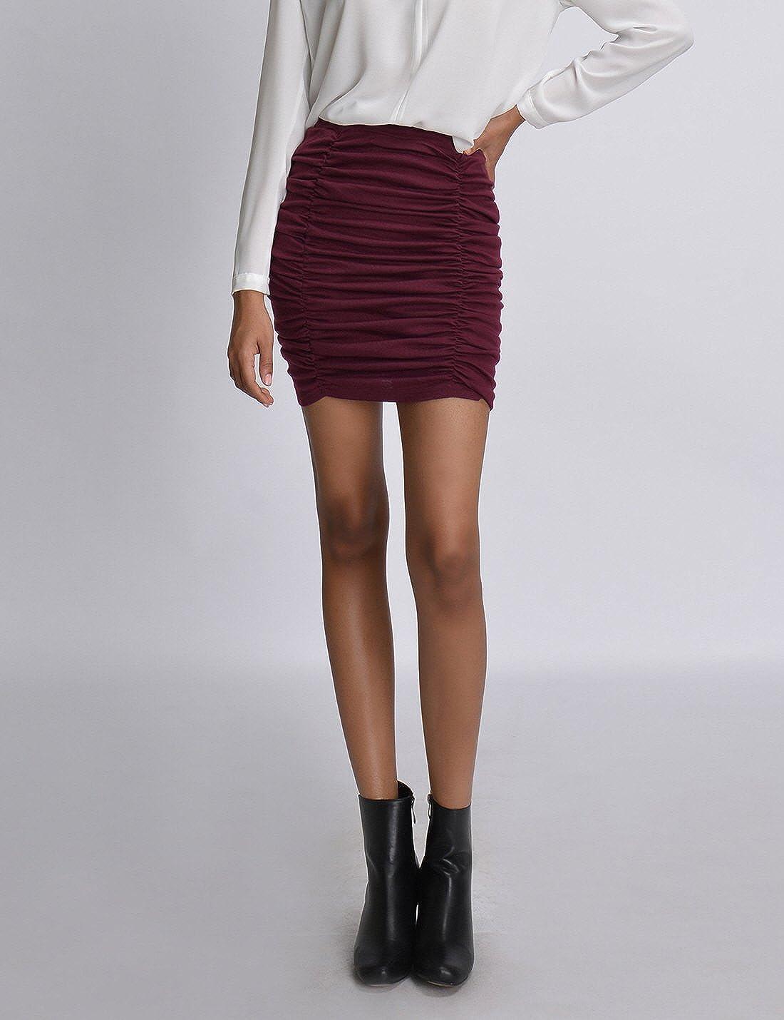 NEARKIN NKNKSSK65 Womens Slim Cut High Waist Elastic Shirring Midi Pencil Skirt Burgundy US XXS Tag Size XS