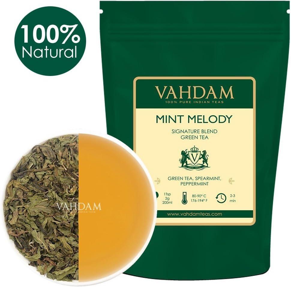 VAHDAM, hojas sueltas de té verde menta (100 tazas) | ANTIOXIDANTES RICOS | Té de menta con hojas de té verde puro | TAZA REFRIGERANTE TÉ | Preparar como té caliente o té helado | 100gr (juego de 2)