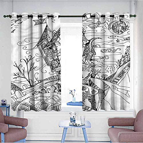 VIVIDX Grommet Window Curtains,Sketchy,Cartoon Witch Halloween,Curtains for Living Room,W63x63L ()