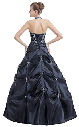 Amazon.com: Edaier Womens Halter Beaded Formal Prom Dress Ball Gown: Clothing