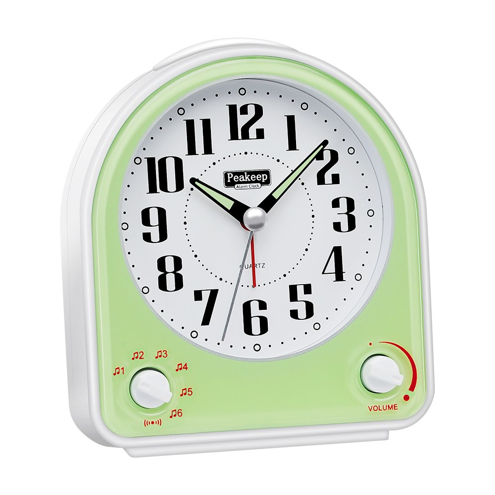 Peakeep Non-Ticking Silent Alarm Clock, Optional 7 Wake-up Sounds with Volume Control, Nightlight and Snooze, AA Battery Operated and Included (Green) by Peakeep