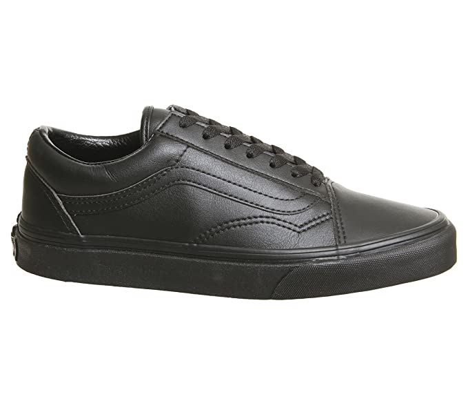 Vans Hombre Zapatillas de Cuero Old Skool, Negro: Amazon.es: Zapatos y complementos