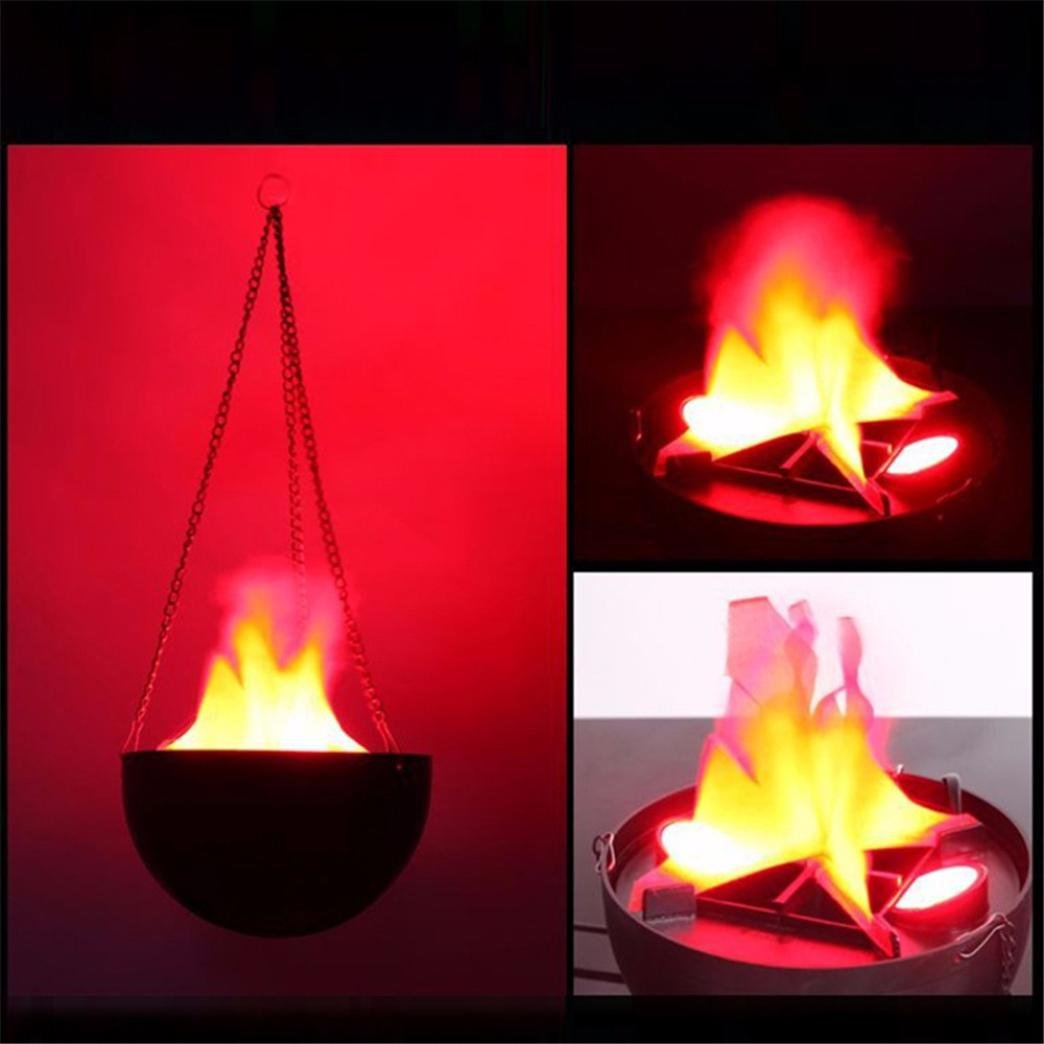 Highpot Cauldron Flame Light, LED Flame Fire Light Hanging Nature Brazier Lamp for Festival Party Decorations (B)