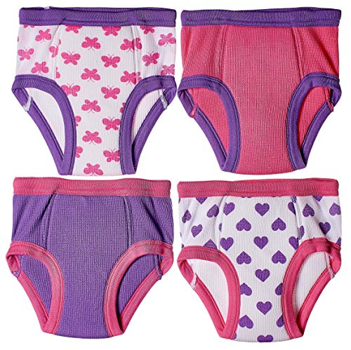 Trimfit Little Girls Waffle Cotton Bows & Hearts Training Pants, 4-Pack, Fuchsia/Purple/White 30 Months / 3T (Toddler) (Toddler Panties Padded)