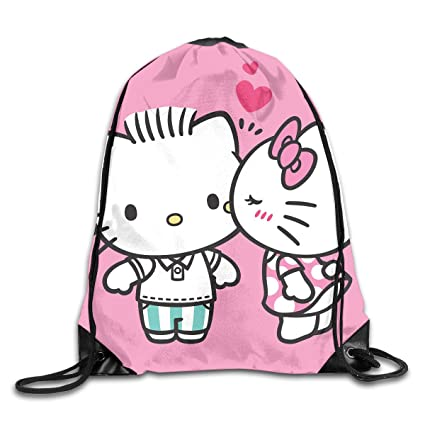 d96c8c7db9 Image Unavailable. Image not available for. Color  Meirdre Unisex Kissing Hello  Kitty Sports Drawstring Backpack ...