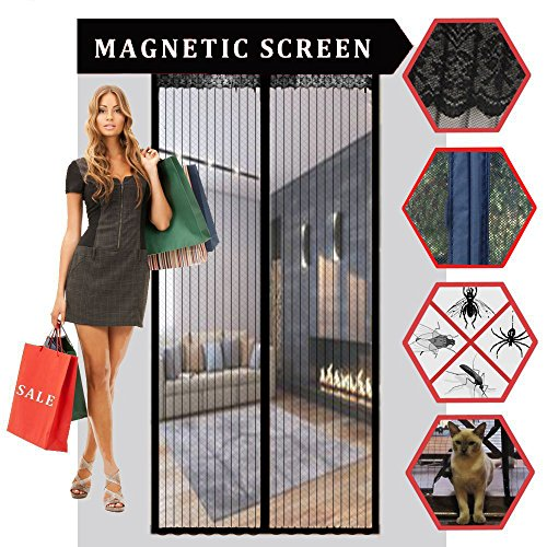 AUGYMER Magnetic Screen Door, Full Frame Hands Free Velcro Mesh Bug Screen 36x82 Inch Pet Friendly Heavy Duty Magnets Screen Door Curtain Automatically - Warehouse Frames