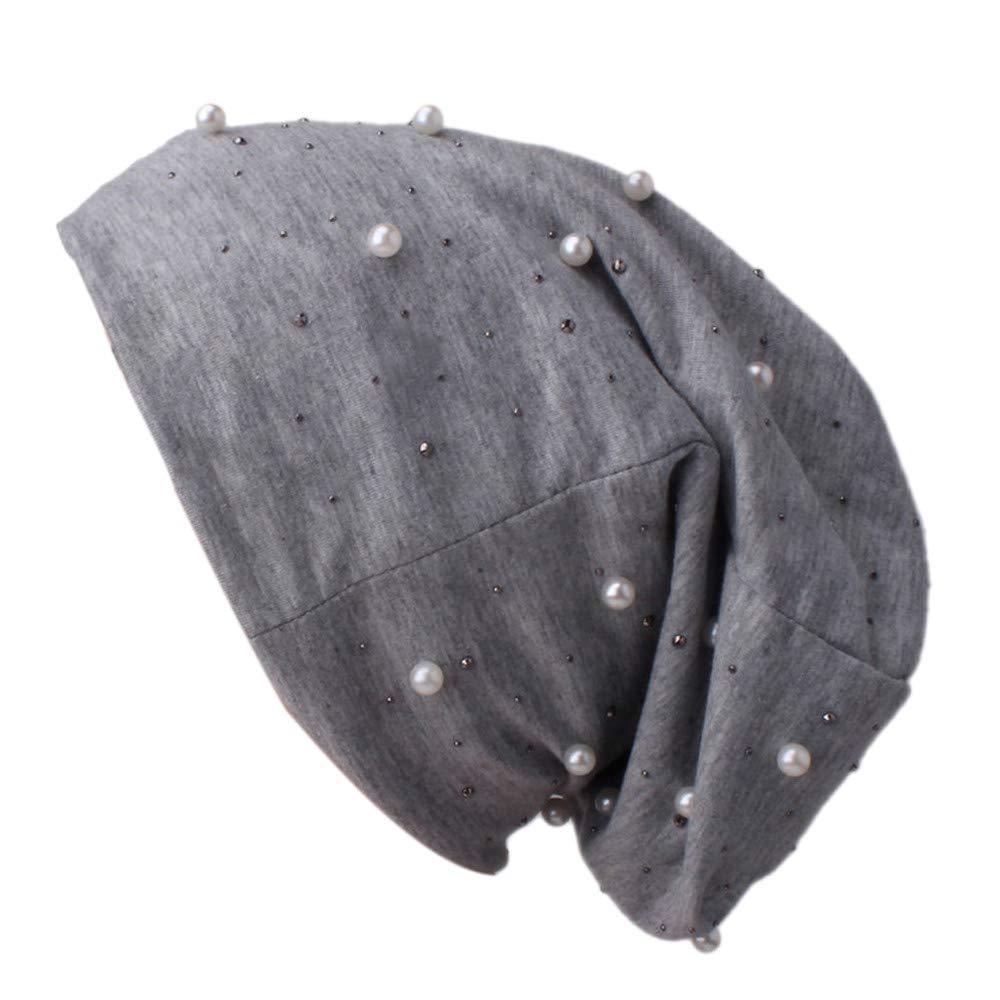 Cinhent Hat Ladies Women Beading Pearl Inlay Ruffle Beanie Scarf Turban Wrap Cap