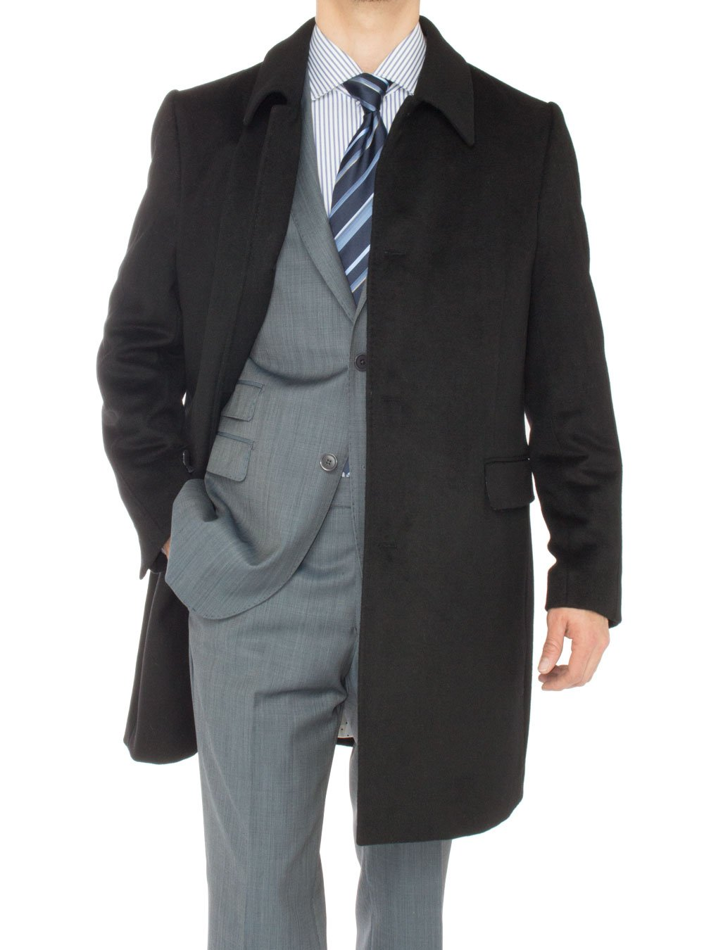 Luciano Natazzi Men's Cashmere Topcoat Classic Knee Length Trench Coat Overcoat (36 US - 46 EU, Black) by Luciano Natazzi