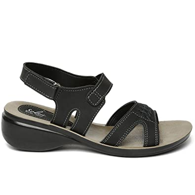 7206b09864b8b PARAGON SOLEA Women's Black Sandals: Buy Online at Low Prices in ...