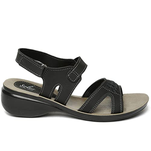 4a794c7f0005 PARAGON SOLEA Women s Black Sandals  Buy Online at Low Prices in India -  Amazon.in