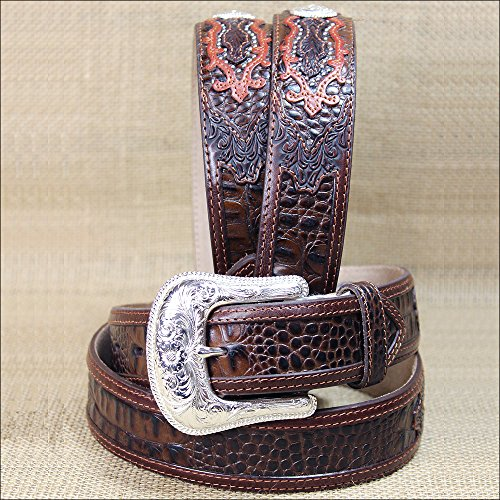 Tony Lama Mens Saddle (Tony Lama Men's Caiman Print Leather Belt Reg And Big Brown 34)