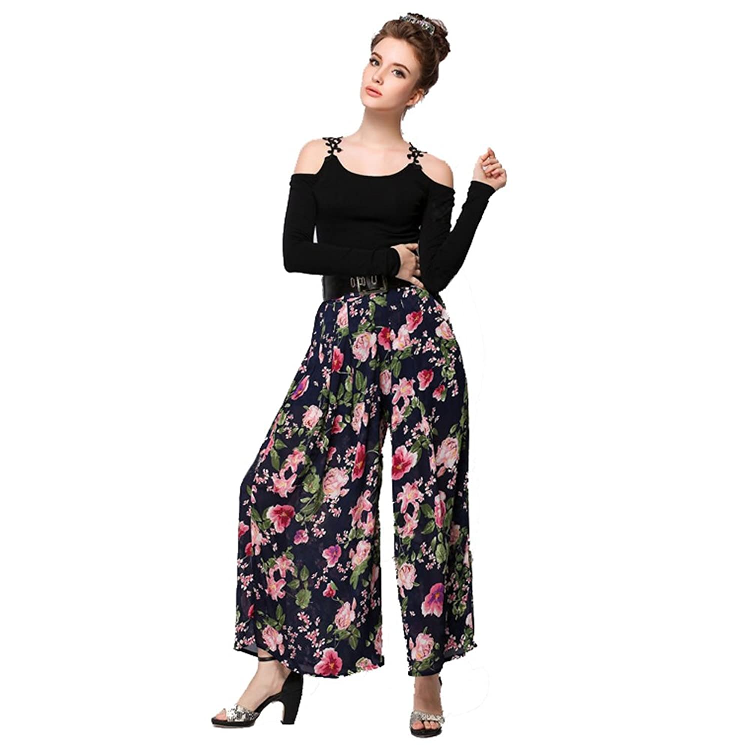 HOLDWELL's Women's Thin Floral High Waist Fashion Wide Leg Pants with Belt