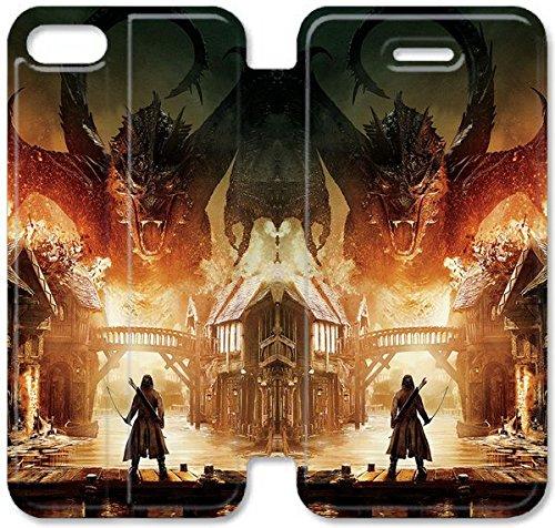 Flip étui en cuir PU Stand pour Coque iPhone 5 5S, bricolage 5 5S étui de téléphone cellulaire Hobbit La bataille cinq armées Art Poster R0H3MV plastique transparent Coque iPhone étuis en cuir